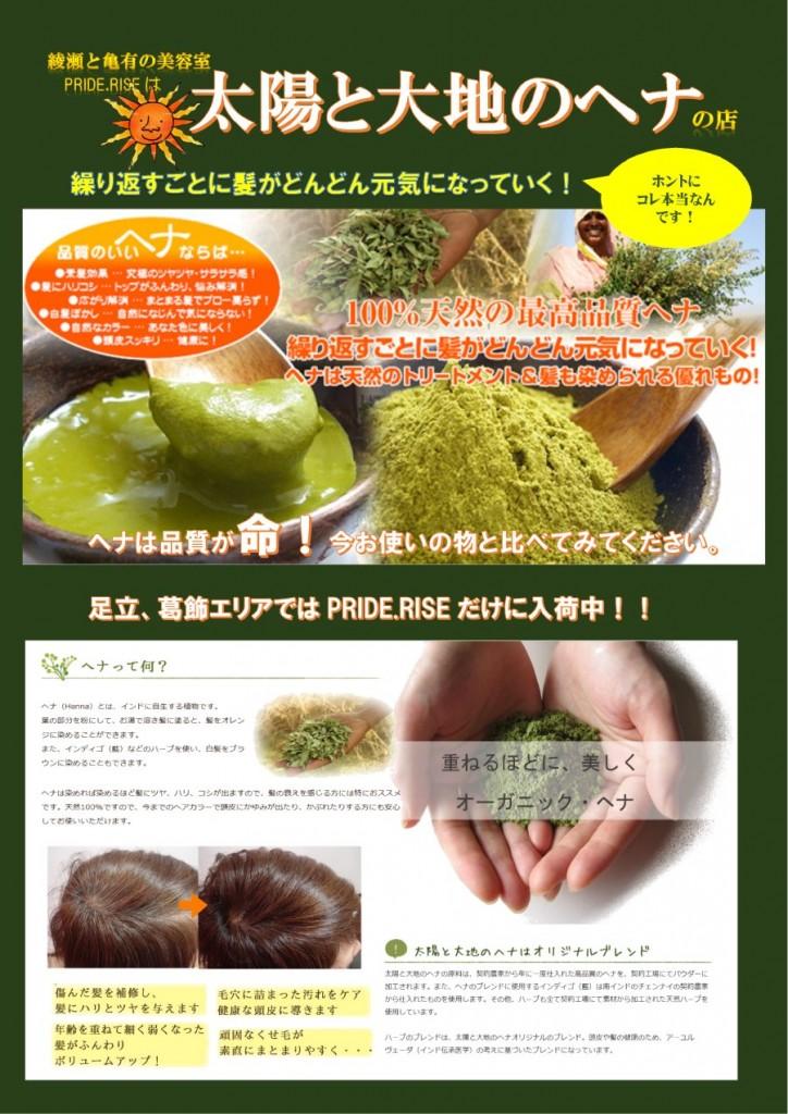 綾瀬で人気の美容室|PRIDERISE(プライドライズ)ヘナやってます!!